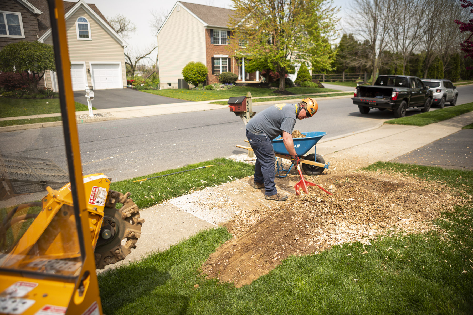 Stump grinding cleanup
