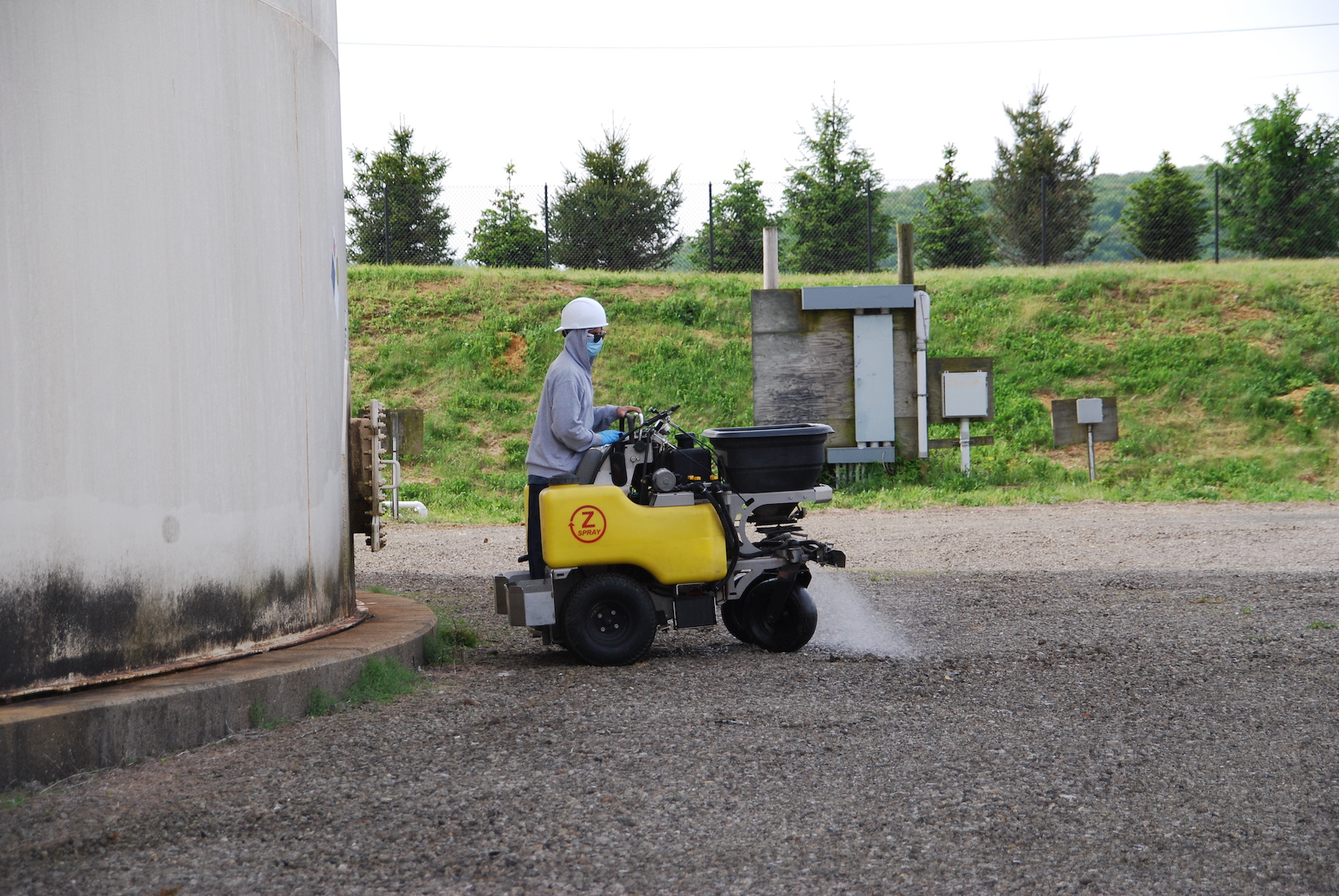 vegetation management product being applied to commercial property